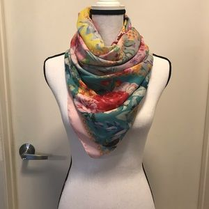 Lady Like square soft cotton floral scarf